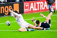 26th March 2021, Stade de France, Saint-Denis, France; Guinness 6-Nations international rugby, France versus Scotland;  essai de Damian Penaud (Fra) beats Ali Price (Sco) to the kick forward as the ball crosses the line