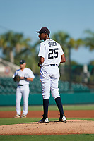 Detroit Tigers pitcher Xavier Javier (25) looks in for the sign during a Florida Instructional League game against the Pittsburgh Pirates on October 6, 2018 at Joker Marchant Stadium in Lakeland, Florida.  (Mike Janes/Four Seam Images)