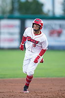 Orem Owlz third baseman Kevin Maitan (9) rounds the bases after hitting a home run during a Pioneer League game against the Ogden Raptors at Home of the OWLZ on August 24, 2018 in Orem, Utah. The Ogden Raptors defeated the Orem Owlz by a score of 13-5. (Zachary Lucy/Four Seam Images)