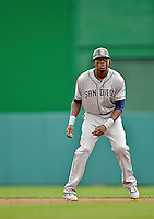15 May 2012: San Diego Padres outfielder Cameron Maybin on the base path during a game against the Washington Nationals at Nationals Park in Washington, DC. The Padres defeated the Nationals 6-1 to split their 2-game series. Mandatory Credit: Ed Wolfstein Photo