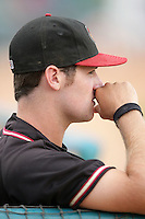 Ben Paulsen of the Modesto Nuts during game against the Lancaster JetHawks at Clear Channel Stadium in Lancaster,California on July 15, 2010. Photo by Larry Goren/Four Seam Images