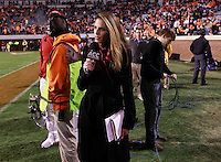 CHARLOTTESVILLE, VA- NOVEMBER 12:  ACC ALL ACCESS host Jenn Hildreth reports from the sidelines during the game on November 12, 2011 at Scott Stadium in Charlottesville, Virginia. Virginia defeated Duke 31-21. (Photo by Andrew Shurtleff/Getty Images) *** Local Caption *** Jenn Hildreth