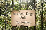 Dogs London Parks Fouling. Sign on the gates of the Inner temple Gardens Inns of Court London. Residents Dogs Only No Fouling. Residents of the Inns of Court who have dogs are allowed to exercise them in these private gardens that are open to the publicat specific times.
