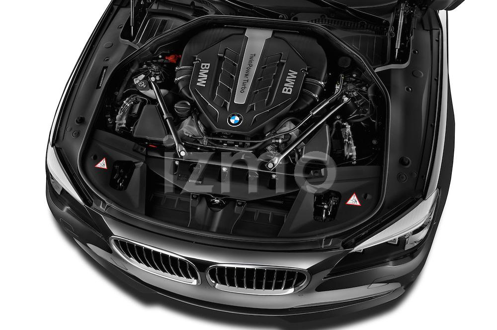 High angle engine detail of a  2013 BMW 7 Series 750Li