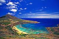 Hanauma Bay.  A marine life conservation area known for it's abundant reef fishes and coral reefs. A snorkelers paradise and one of oahu's popular tourist attraction.
