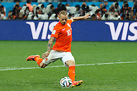Wesley Sneijder of the Netherlands has his penalty saved