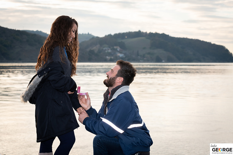 Eden + Matthew in Benicia for a surprise waterfront proposal and dinner at Sweetness & Light Floral Boutique catered by @SuppersOn_Events.