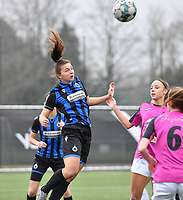 Jody Vangheluwe (22 Brugge) pictured with Aalst's Daisy Baudewijns during a female soccer game between Club Brugge Dames YLA and Eendracht Aalst Ladies on the 9 th matchday of the 2020 - 2021 season of Belgian Scooore Womens Super League , saturday 12 December 2020  in Brugge , Belgium . PHOTO SPORTPIX.BE | SPP | DAVID CATRY