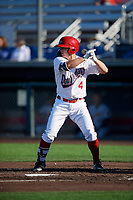 Auburn Doubledays J.T. Arruda (4) at bat during a NY-Penn League game against the West Virginia Black Bears on August 23, 2019 at Falcon Park in Auburn, New York.  West Virginia defeated Auburn 8-1, the first game of a doubleheader.  (Mike Janes/Four Seam Images)