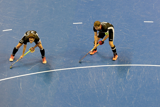 Berlin, Germany, February 10: During the FIH Indoor Hockey World Cup semi-final match between Germany (black) and Iran (white) on February 10, 2018 at Max-Schmeling-Halle in Berlin, Germany. Final score 6-2. (Photo by Dirk Markgraf / www.265-images.com) *** Local caption *** (L-R) Marco MILTKAU #22 of Germany, Martin HAENER #6 of Germany