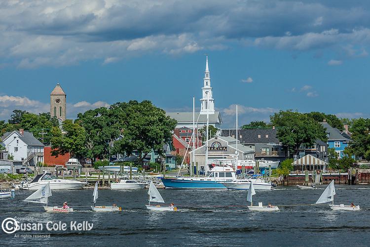 Children's sunfish sailing classes on the waterfront in Warren, RI, USA