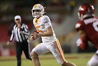 Tennessee quarterback Harrison Bailey (15) carries the ball, Saturday, November 7, 2020 during the fourth quarter of a football game at Donald W. Reynolds Razorback Stadium in Fayetteville. Check out nwaonline.com/201108Daily/ for today's photo gallery. <br /> (NWA Democrat-Gazette/Charlie Kaijo)