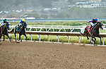 """DEL MAR, CA  AUGUST 28 :  #1 Ginobili, ridden by Drayden Van Dyke, cruises in the stretch of the Pat O'Brien Stakes (Grade ll) Breeders Cup """"Win and You're In"""" Dirt Mile Division on August 28, 2021 at Del Mar Thoroughbred Club in Del Mar, CA.(Photo by Casey Phillips/Eclipse Sportswire/CSM)"""