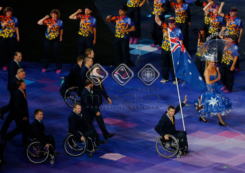 Greg Smith Flag Bearer & AUS Paralympic Team (AUS)<br /> Opening Ceremony (Wednesday 29th Aug)<br /> Opening Ceremony London<br /> Paralympics - Summer / London 2012<br /> London England 29 Aug - 9 Sept <br /> © Sport the library/Greg Smith