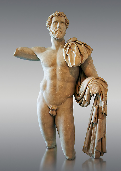 Roman statue in the nude hero style of Emperor Antoninus Pius, 138-161 AD. Titus Fulvius Aelius Hadrianus Antoninus Augustus Pius, also known as Antoninus, was Roman Emperor from 138 to 161. He was a member of the Nerva–Antonine dynasty and the Aurelii.[3]<br /> He acquired the name Pius after his accession to the throne, either because he compelled the Senate to deify his adoptive father Hadrian, or because he had saved senators sentenced to death by Hadrian in his later years. The National Roman Museum, Rome, Italy