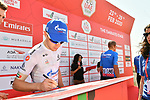 Gazprom Rusvelo at sign on before Stage 3 The Emirates Stage of the UAE Tour 2020 running 184km from Al Qudra Cycle Track to Jebel Hafeet, Dubai. 25th February 2020.<br /> Picture: LaPresse/Massimo Paolone | Cyclefile<br /> <br /> All photos usage must carry mandatory copyright credit (© Cyclefile | LaPresse/Massimo Paolone)