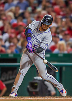 29 July 2017: Colorado Rockies outfielder Carlos Gonzalez in action against the Washington Nationals at Nationals Park in Washington, DC. The Rockies defeated the Nationals 4-2 in the first game of their 3-game weekend series. Mandatory Credit: Ed Wolfstein Photo *** RAW (NEF) Image File Available ***