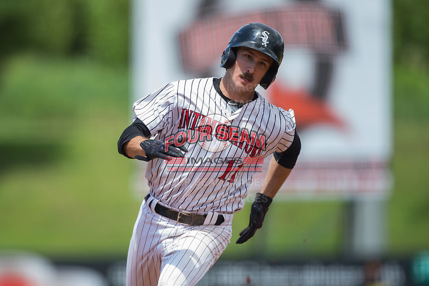 Jameson Fisher (11) of the Kannapolis Intimidators hustles towards third base against the West Virginia Power at Kannapolis Intimidators Stadium on June 18, 2017 in Kannapolis, North Carolina.  The Intimidators defeated the Power 5-3 to win the South Atlantic League Northern Division first half title.  It is the first trip to the playoffs for the Intimidators since 2009.  (Brian Westerholt/Four Seam Images)
