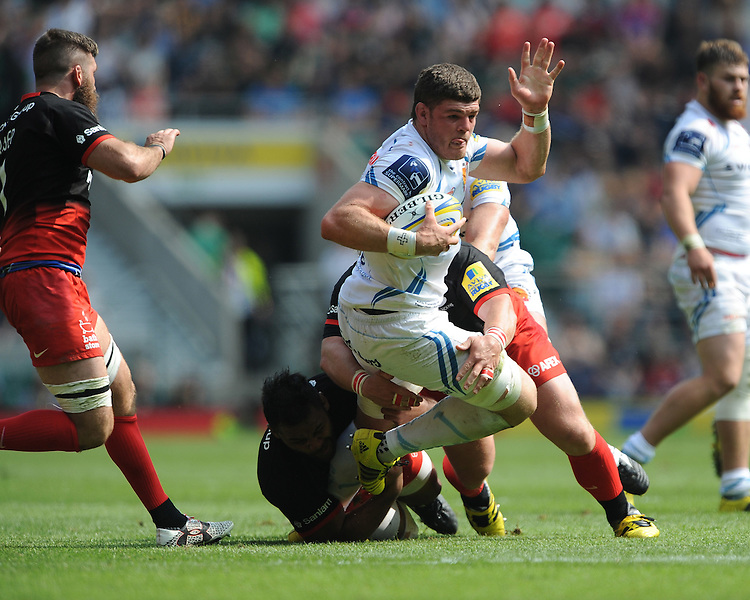 David Ewers of Exeter Chiefs is tackled by Billy Vunipola of Saracens during the Aviva Premiership Rugby Final between Saracens and Exeter Chiefs at Twickenham Stadium on Saturday 28th May 2016 (Photo: Rob Munro/Stewart Communications)