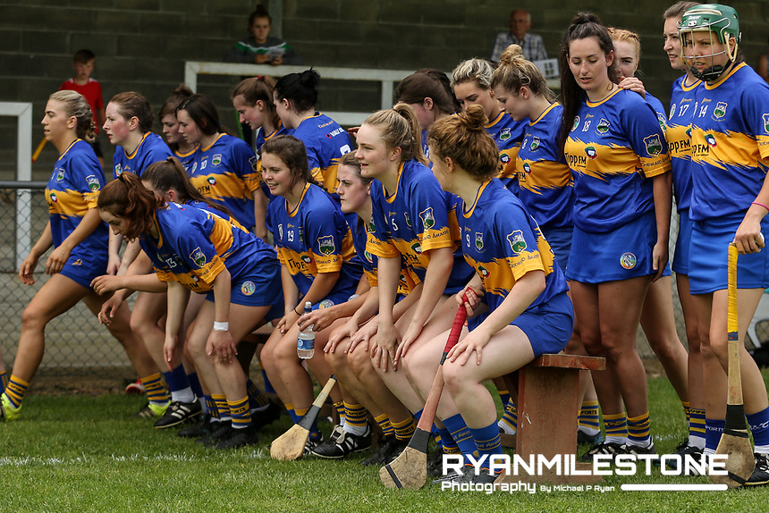 The Tipperary team ahead of the start of the Liberty Insurance All Ireland Senior Camogie Championship Round 1 between Tipperary and Meath at the Ragg, Co Tipperary. Photo By Michael P Ryan.