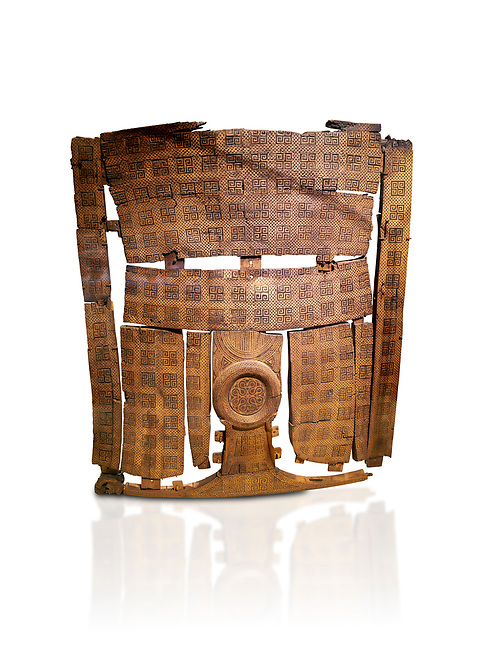 Phrygian inlayed Wooden Screen from the Gordion Great Tumulus. Phrygian Collection, 8th-7th century BC - Museum of Anatolian Civilisations Ankara. Turkey. Against a white background