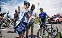 The 15th stage came to an abrupt halt after just a few minutes (3km) of racing following a large crash that forced the race to temporarily be neutralized as medical assistence was temporarily stretched to the max. <br /> Remco Evenepoel (BEL/Deceuninck-QuickStep) checking in with Mikkel Frølich Honoré (DEN/Deceuninck - Quick Step) to check if all is ok.<br /> <br /> 104th Giro d'Italia 2021 (2.UWT)<br /> Stage 15 from Grado to Gorizia (147km)<br /> <br /> ©kramon