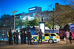 © Joel Goodman - 07973 332324 . 07/04/2017 . Manchester , UK . Paramedics in Piccadilly Gardens . Greater Manchester Police have authorised dispersal powers and say they will ban people from the city centre for 48 hours , this evening (7th April 2017) , in order to tackle alcohol and spice abuse . Photo credit : Joel Goodman