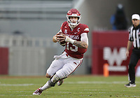Arkansas quarterback Feleipe Franks (13) carries the ball, Saturday, November 21, 2020 during the fourth quarter of a football game at Donald W. Reynolds Razorback Stadium in Fayetteville. Check out nwaonline.com/201122Daily/ for today's photo gallery. <br /> (NWA Democrat-Gazette/Charlie Kaijo)