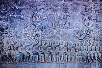 Cambodia, Angkor Wat.  Bas-relief Showing Pandava Warriors Advancing into the Battle of Kurukshetra.