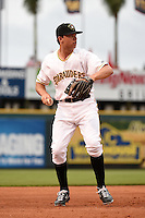 Bradenton Marauders third baseman Eric Wood (48) throws to first during a game against the Jupiter Hammerheads on April 17, 2014 at McKechnie Field in Bradenton, Florida.  Bradenton defeated Jupiter 2-1.  (Mike Janes/Four Seam Images)