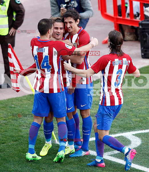 Atletico de Madrid's Gabi Fernandez, Antoine Griezmann, Stefan Savic  and Filipe Luis celebrate goal during La Liga match. March 19,2017. (ALTERPHOTOS/Acero) /NORTEPHOTO.COM