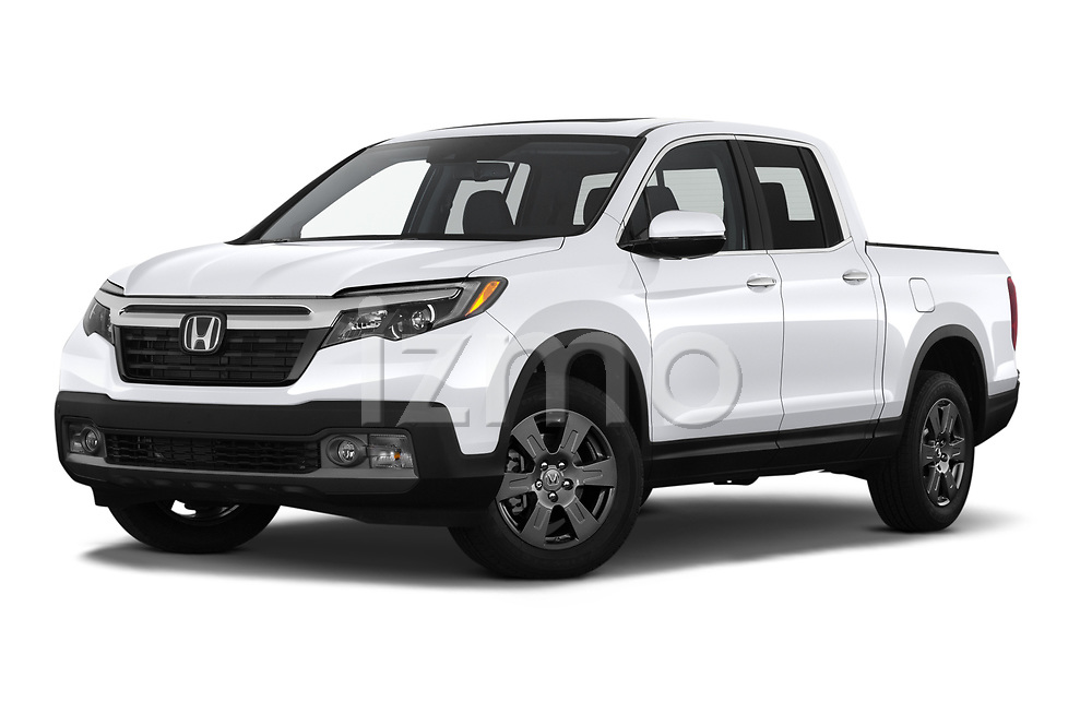 Stock pictures of low aggressive front three quarter view of 2020 Honda Ridgeline RTL-E 4 Door Pick-up Low Aggressive