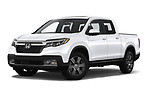 Stock pictures of low aggressive front three quarter view of 2020 Honda Ridgeline RTL-E 4 Door Pick-up Low Aggressive