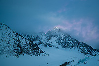 Argentiere Glacier at sunset in Chamonix, Alps, Mont Blanc Massif, France