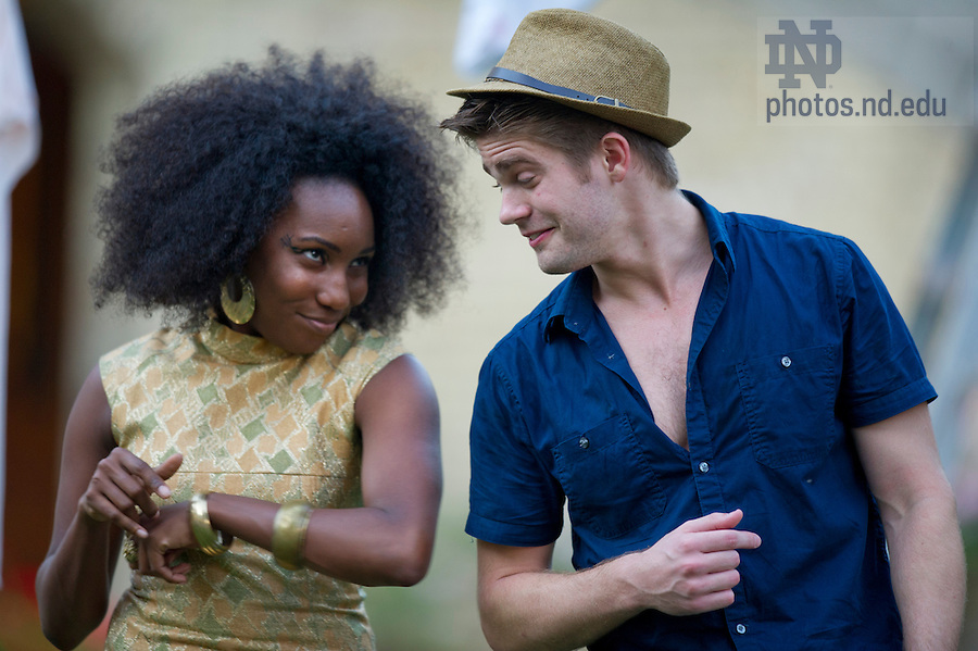 """Aug, 26, 2013; Actors from the Young Company, Zuri Eshun and Nathan Goodrich perform in Shakespeare's """" The Comedy of Errors"""" on the Main Building Quad (in front of the Golden Dome. Photo by Barbara Johnston/University of Notre Dame"""