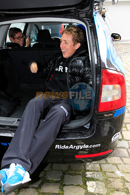 Daniel Martin (IRL) Garmin-Barracuda waits in the team car before the team presentations at the Palais Provincial in Liege city centre before the 98th edition of Liege-Bastogne-Liege 2012. 21st April 2012.  <br /> (Photo by Eoin Clarke/NEWSFILE).