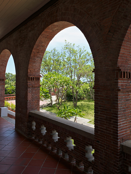 Colonnade And Garden, Consul's Residence In Kaohsiung (Takow), Taiwan.