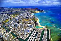 Aerial view of Waikiki area, Oahu