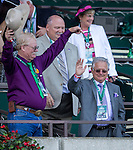 June 7, 2014: California Chrome co-owner Steve Coburn (left) and trainer Art Sherman wave to the crowd at Belmont Park on Belmont Stakes Day in Elmont, NY. Jon Durr/ESW/CSM