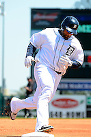 Detroit Tigers first baseman Prince Fielder #28 runs the bases after hitting a home run during a Spring Training game against the Tampa Bay Rays at Joker Marchant Stadium on March 29, 2013 in Lakeland, Florida.  (Mike Janes/Four Seam Images)