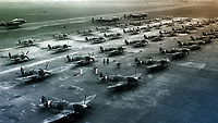 BNPS.co.uk (01202 558833)<br /> Pic: SecretSpitfires/BNPS<br /> <br /> Completed Spitfires waiting to be flown off to their squadrons - the town built over 2000 of the vital fighters without the Luftwaffe ever realising..<br /> <br /> A campaign to build a memorial to honour the women and children who built over 2,000 Spitfires in secret to help win the Second World War has been launched.<br /> <br /> The little-known operation involved just a few hundred people who operated in requisitioned car garages, factories and workshops in the city of Salisbury.<br />  <br /> They built the legendary aircraft in piecemeal and worked with such discretion that the Wiltshire city's inhabitants were oblivious to it. <br /> <br /> The unsung workers were so prolific they accounted for one tenth of all Spitfires produced during the war.