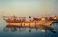 Kuwait November 1967.  Dhow Anchored at Sief Waterfront.
