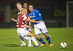 Hamilton Accies v St Johnstone...24.09.13      League Cup<br /> Stevie May and Alex Neil<br /> Picture by Graeme Hart.<br /> Copyright Perthshire Picture Agency<br /> Tel: 01738 623350  Mobile: 07990 594431