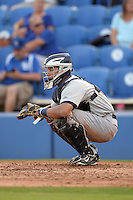 Brevard County Manatees catcher Rafael Neda (12) during a game against the Dunedin Blue Jays on April 23, 2015 at Florida Auto Exchange Stadium in Dunedin, Florida.  Brevard County defeated Dunedin 10-6.  (Mike Janes/Four Seam Images)