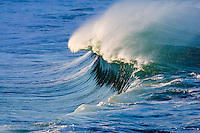 Beautiful wave at the shore break of Waimea Bay on the North Shore of Oahu, Hawaii.
