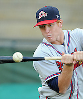 Infielder Barrett Kleinknecht (10) of the Danville Braves prior to a game against the Pulaski Mariners on July 19, 2010, at Pioneer Field in Greeneville, Tenn. Photo by: Tom Priddy/Four Seam Images