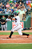 Northern Divisions third baseman Trevor Craport (19) of the Delmarva Shorebirds swings at a pitch during the South Atlantic League All Star Game at First National Bank Field on June 19, 2018 in Greensboro, North Carolina. The game Southern Division defeated the Northern Division 9-5. (Tony Farlow/Four Seam Images)