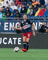FOXBOROUGH, MA - AUGUST 4: Matt Polster #8 of New England Revolution passes the ball during a game between Nashville SC and New England Revolution at Gillette Stadium on August 4, 2021 in Foxborough, Massachusetts.