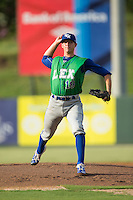 Lexington Legends starting pitcher A.J. Puckett (19) in action against the Kannapolis Intimidators at Kannapolis Intimidators Stadium on July 14, 2016 in Kannapolis, North Carolina.  The Kannapolis Intimidators defeated the Lexington Legends 4-2.  (Brian Westerholt/Four Seam Images)