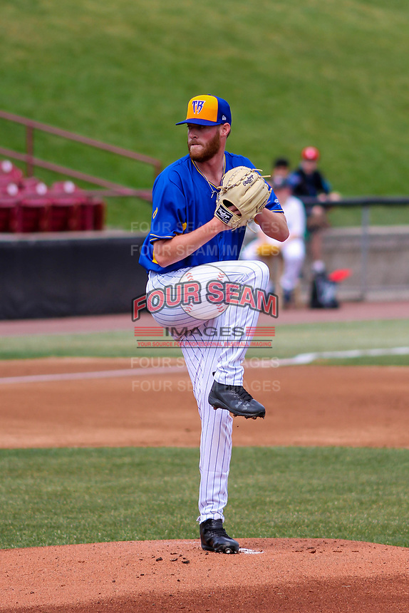 Wisconsin Timber Rattlers pitcher Cameron Roegner (35) delivers a pitch during a Midwest League game against the Quad Cities River Bandits on April 9, 2017 at Fox Cities Stadium in Appleton, Wisconsin.  Quad Cities defeated Wisconsin 17-11. (Brad Krause/Four Seam Images)